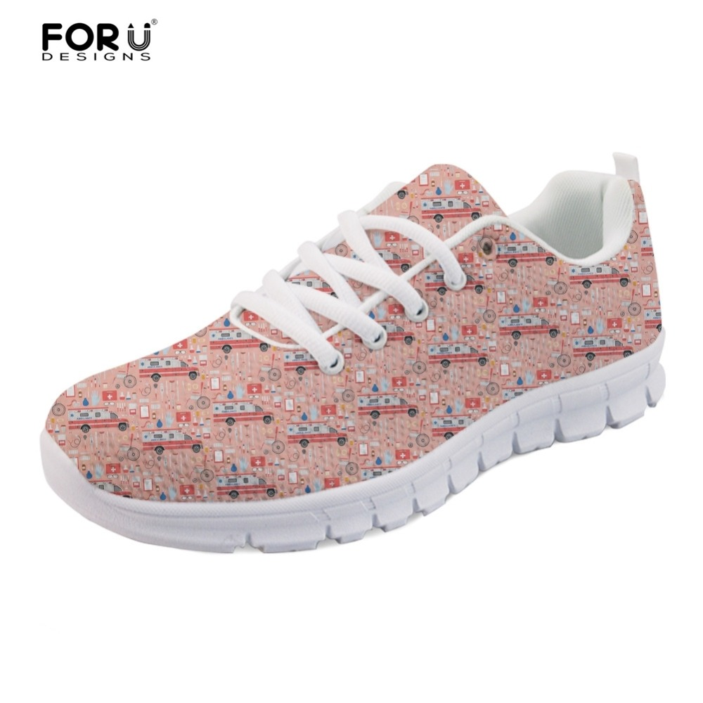 FORUDESIGNS Sneakers Woman Casual Flats Fashion Girls Shoes Nurse Medical Bus Pattern Female Mesh Lightweight Shoes for Women forudesigns spring summer casual women sneakers cute happy chef pattern flats shoes woman fashion cartoon mesh shoes women flat