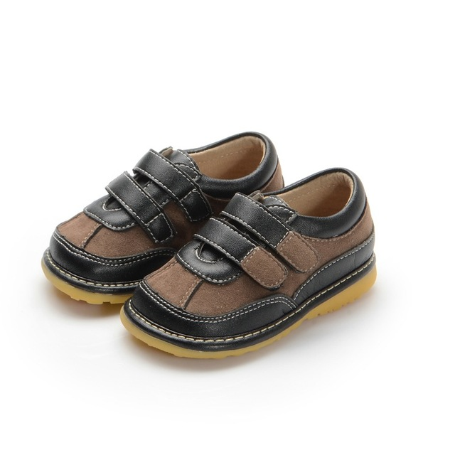 Two Strapes Navy Brown Baby Boy Squeaky Shoes Toddler Shoes Size 3456789 Free Shipping