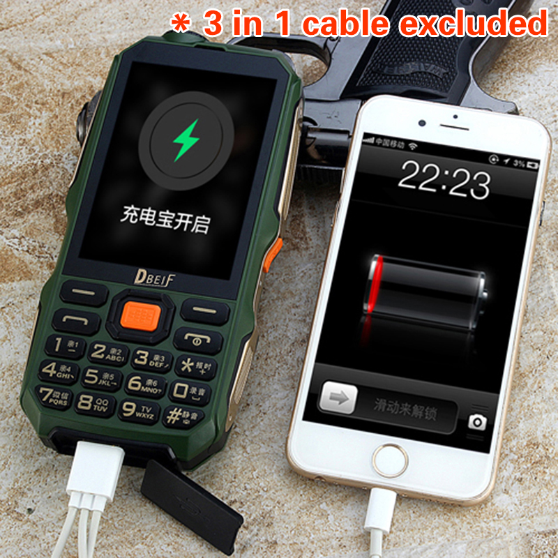 "Image 2 - DBEIF D2016 Rugged Outdoor Analog TV 3.5"" Big Display Torch High Power Bank Dual Sim Big Sound Mobile Telephone D2017-in Cellphones from Cellphones & Telecommunications"