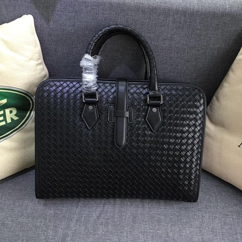 Kaisiludi leather woven men's bag handbag business document bag top layer tire cow skin horizontal computer bag leisure