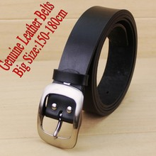 140-180cm Cowhide High Quality pin Buckle Leather Strap for lard-bucket black