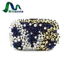Europäischen und Amerikanischen Stil Frauen Perlen Clutch Hochzeit Tasche mit Perlen Elegante Bankett Handtasche Partei Weiß und Blau