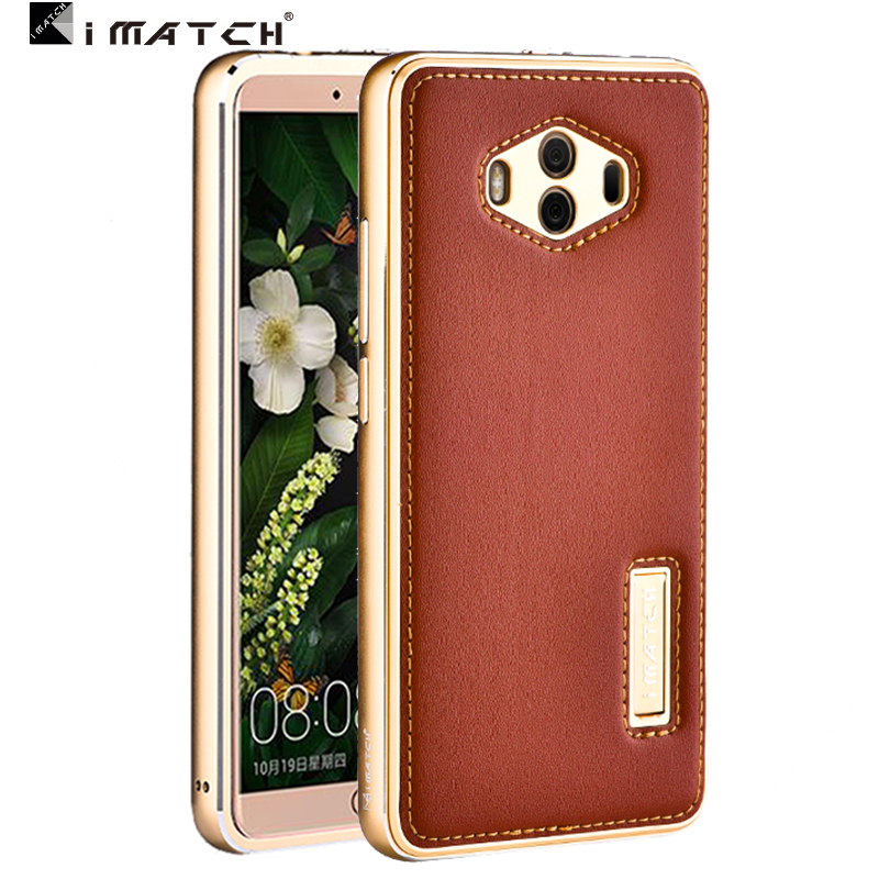 For Huawei Mate 10 Pro Case Metal Aluminum Genuine Leather Back Cover Case For Huawei Mate