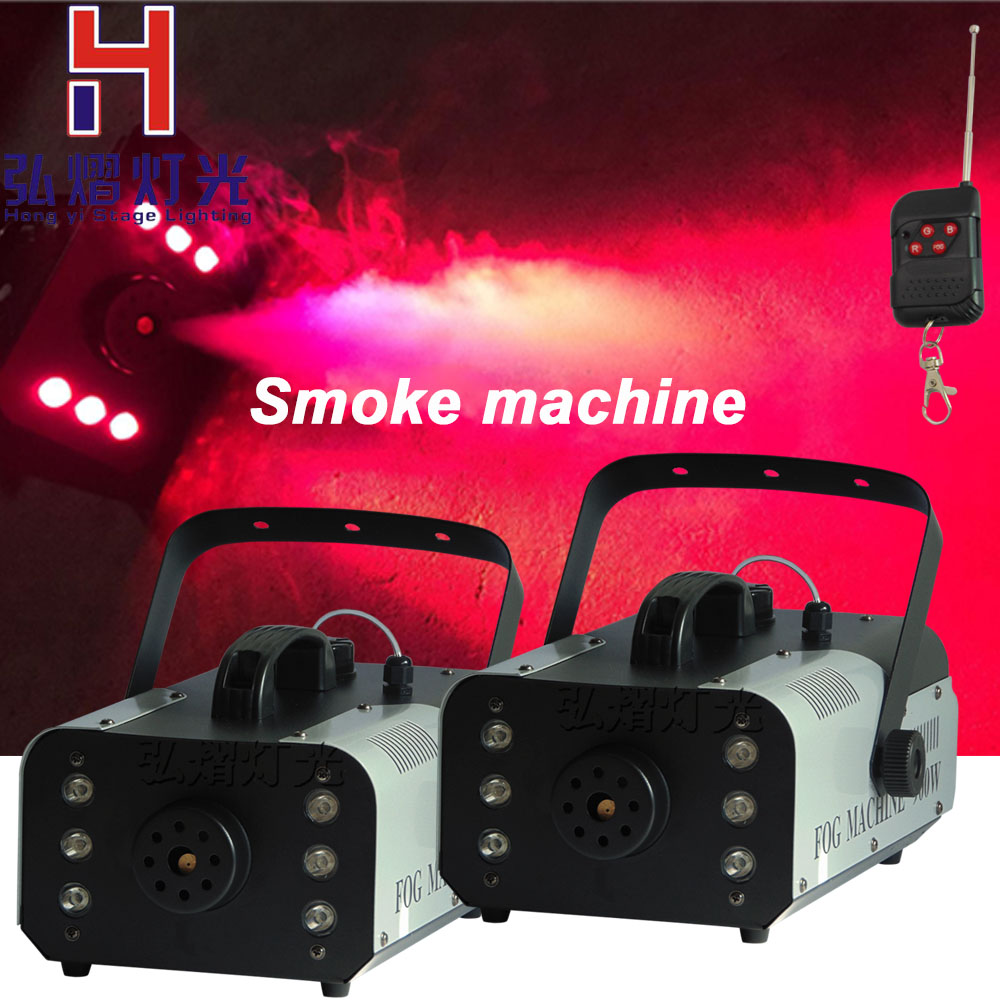 2lots Remote or wire control LED 900W smoke machine/RGB change color fog machine/professional smoke ejector/stage equipment/LED freeshipping sample 900w led smoke machine 30pcs 10mm bule leds smoke coverage 1000ft cu min fog oil tank capacity 1 5l remote