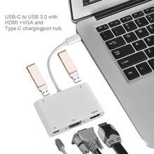 USB 3.1 Тип C до VGA, HDMI, USB 3.0 хаб Тип C Кабель-адаптер Зарядное устройство для MacBook Pro
