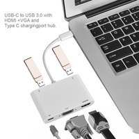 USB 3.1 Type C to VGA HDMI USB 3.0 Hub Type C Cable Adapter Charger For Macbook Pro