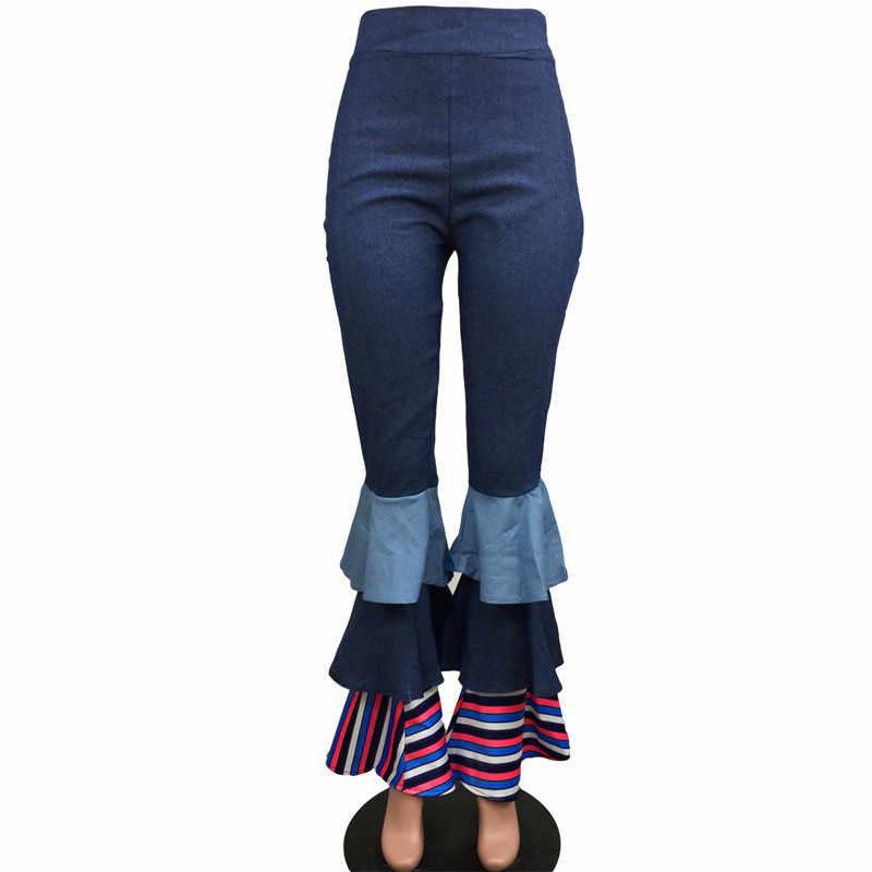 Moda Yüksek Bel Flare Pantolon Kadınlar Katmanlı Fırfır denim pantolon Rahat Elastik Jean Slim Çan Dipleri Pantolon Pantalon Femme