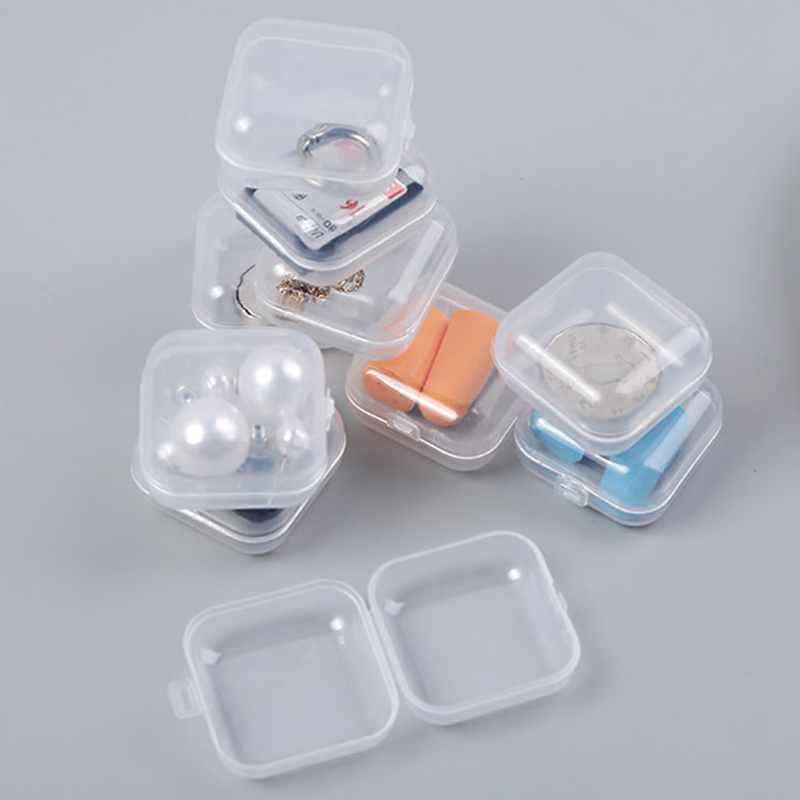 5pcs Transparent Portable Mini Jewelry Box Organizer Case Travel Accessories Multifunction SD Card Earplug Small Packaging Box