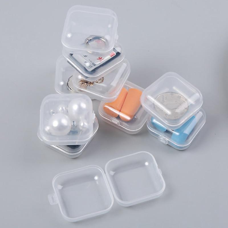 5pcs Transparent Portable Mini Jewelry Box Organizer Case Travel Accessories Multifunction SD Card Earplug Small Packaging Box