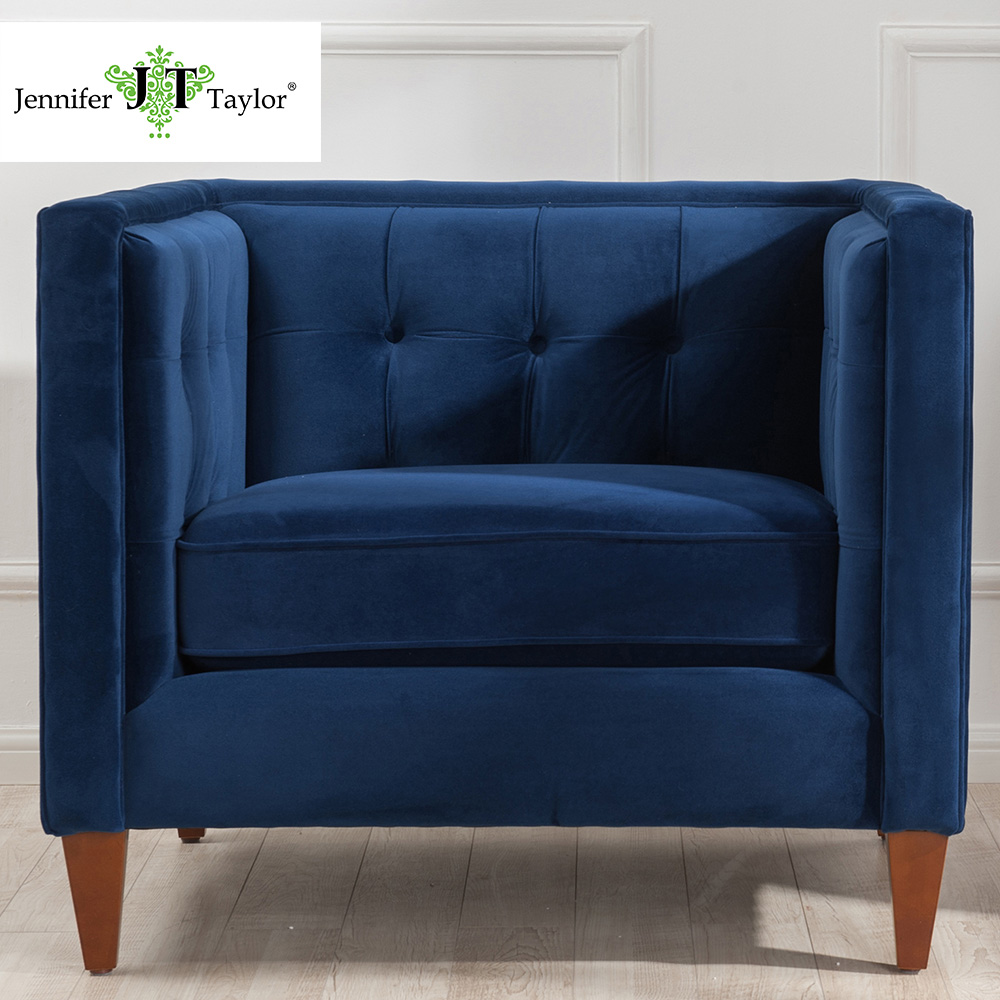 Jennifer Taylor Home, Arm Chair, Navy Blue Velvet, Hand Tufted, Hand Painted and Hand Rub Finished Wooden Legs, 84W x 33, 8403 jennifer bassett shirley homes and the lithuanian case