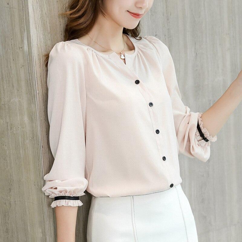 Casual Bottom   Shirts   Spring Women White   Shirt   Long Sleeve Korean Ruffles Streetwear Slim Chiffon   Blouse   Elegant Ladies Tops Pink