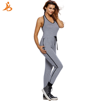 Sexy Backless Gym Fitness Jumpsuit Yoga Sport Wear Outfit Adjustable Waist One Pcs Yoga Set For Women Running Tracksuit