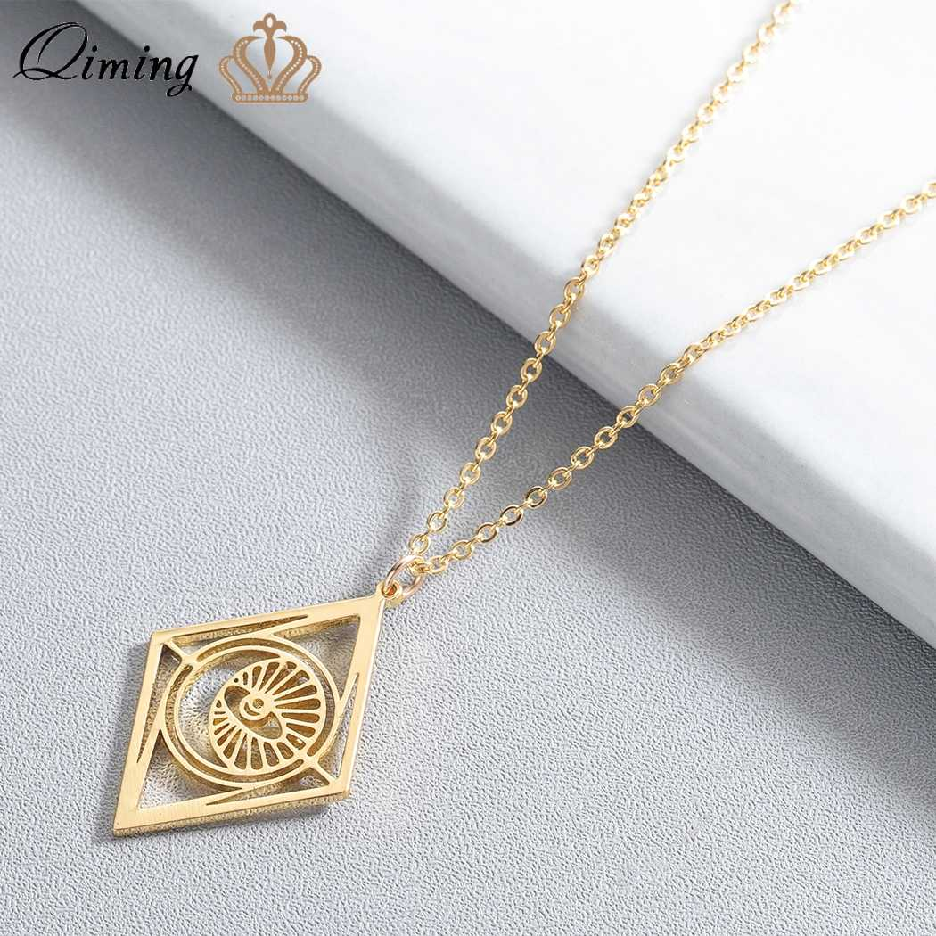 QIMING Creative Rhombus Evil Eye Necklace Women Geometric Pendant Gold Chain Fashion Jewelry Geometric Necklaces Gift