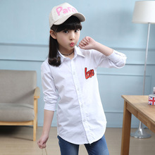 Kids Solid White Shirts For Girls School Uniforms Long Sleeve Teenage Girl Blouses Spring Clothing  5 6 7 8 9 10 11 12 13 14