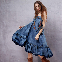 Artka Women S Denim Dress Big Pockets Design Fashion Lady Casual Washed Dresses Embroidery Decorate Lady