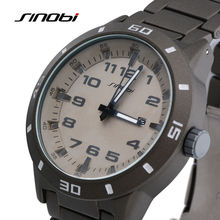 SINOBI Sports Watch Men s Wrist Watches 3bar Waterproof Stainless Steel Watchband Males Geneva Quartz Clock