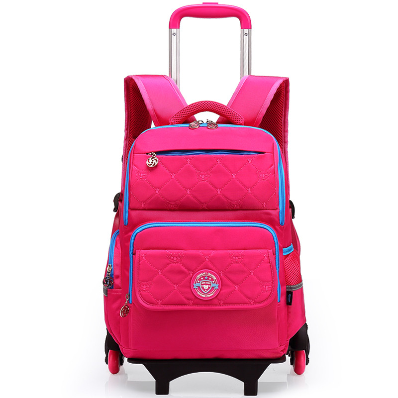 high quality detachable kids trolley school bag on wheels child wheel bag boys school bags rolling school backpack for girls
