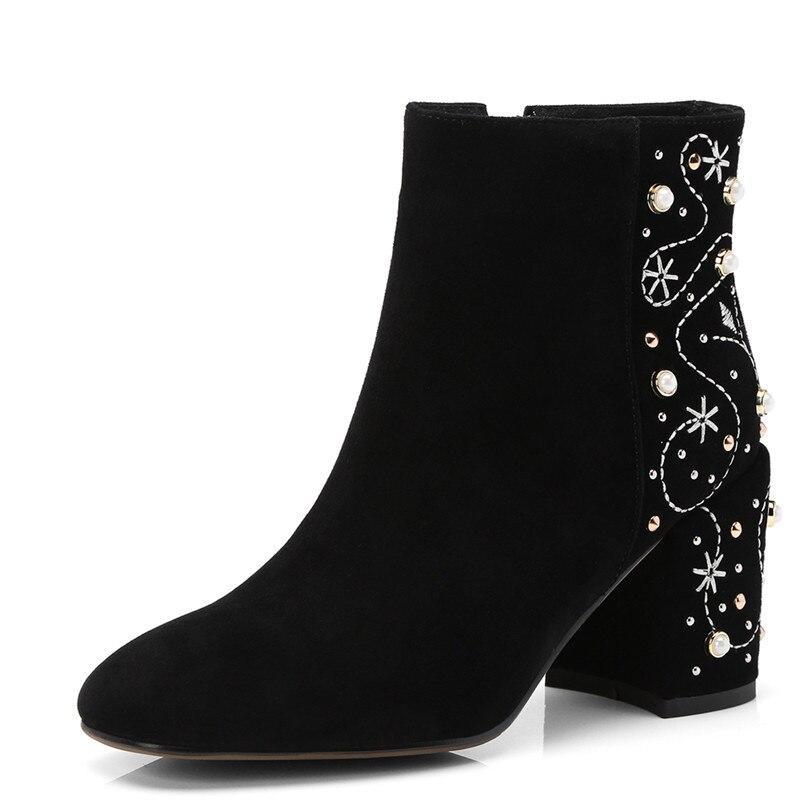 FEDONAS1Fashion النساء حذاء من الجلد جلد الغزال الخريف الشتاء الدافئة عالية الكعب أحذية امرأة بلينغ جودة حزب حفلة موسيقية الرقص مضخات-في أحذية الكاحل من أحذية على  مجموعة 2