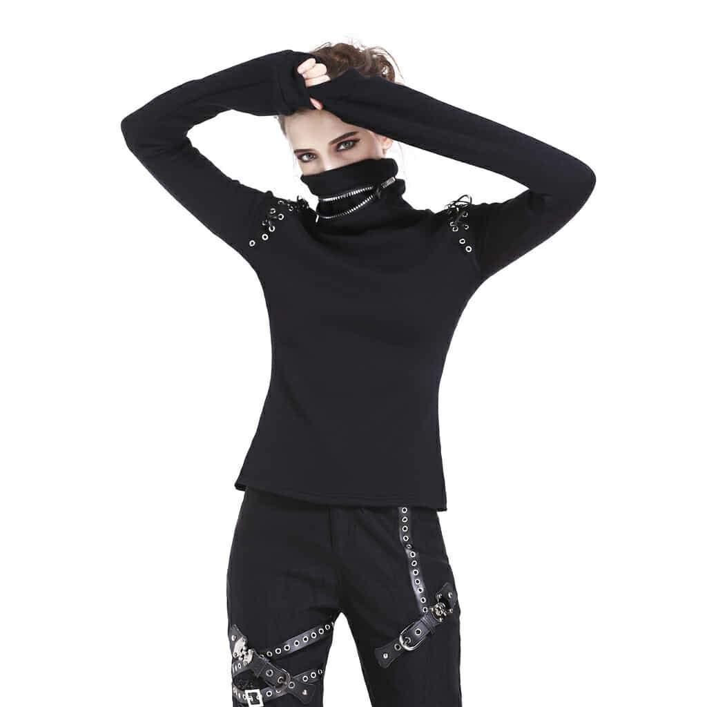 Darkinlove Women's Punk Rock Long Sleeve T Shirt Personality Streetwear High Neck Women Top Hollow Out Wpmen Sexy Tops