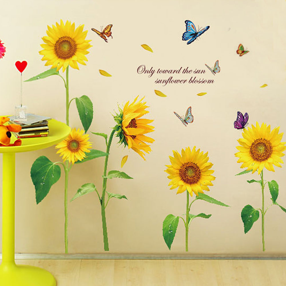 Us 6 32 20 Off Whole Sunshine Sunflower Wall Stickers Living Bedroom Decorations Diy Flowers Pvc Home Decals Mural Arts Poster In