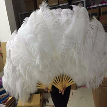 Big Ostrich Feathers Fan With Bamboo Staves for Belly Dance Halloween Party Ornament Decor Necessary, 13 bones