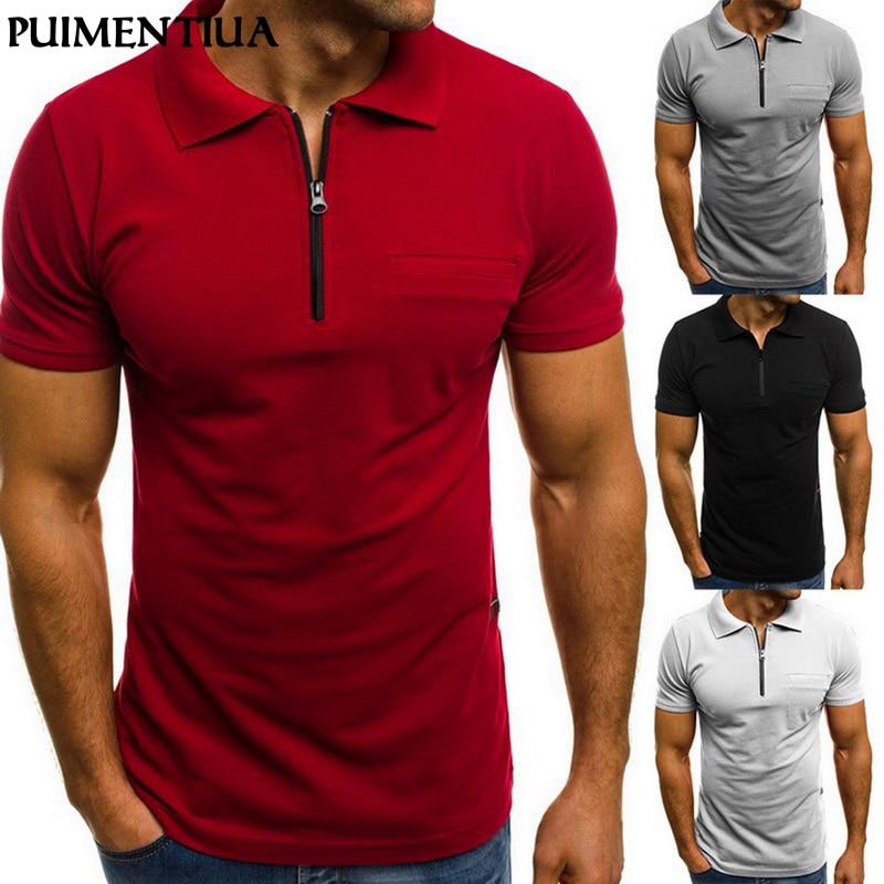 Puimentiua Brand Clothing Men Muscle Zipper Short Sleeve Polo Shirt Business Casual Shirt Fashion Fitness Shirts Tee Summer Tops