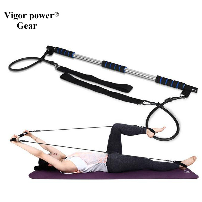 Vigor Power Gear Yoga chest pull rope Exercise Bar Pilates Fitness Rods yoga tubes with bar deweyer stretch rope yoga rope rugby tailor strength airial yoga supplies йога полосатый фиолетовый