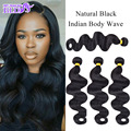 Virgin Indian Hair Extensions Real Indian Remy Hair Body Wave 7A Grade 8-28 Inch Body Wave Bundles Natural Black 4 Bundle Deals
