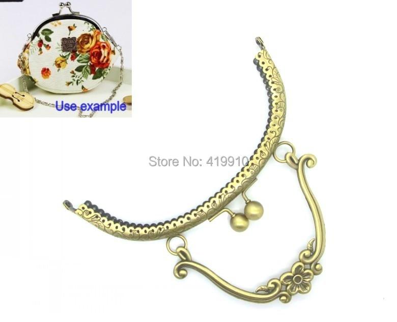 "Free Shipping-1PCS Antique Bronze Purse Bag Metal Arch Frame Kiss Clasp Lock Handle 16.5x15cm(6 4/8""x5 7/8"") J2629"