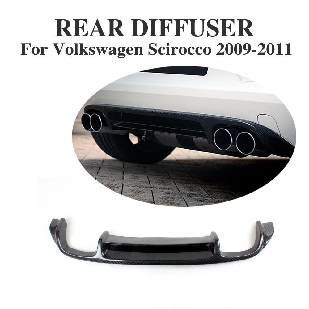 Углеродного волокна задний диффузор спойлер для VW Scirocco Стандартный бампера 2009 2011 стайлинга автомобилей