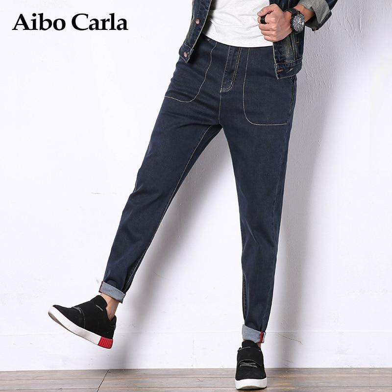 Mens Cotton Casual Slim Fit Denim Biker Jeans Pants Elastic Hip Hop Robin Balmai Trousers Blue Plus Size