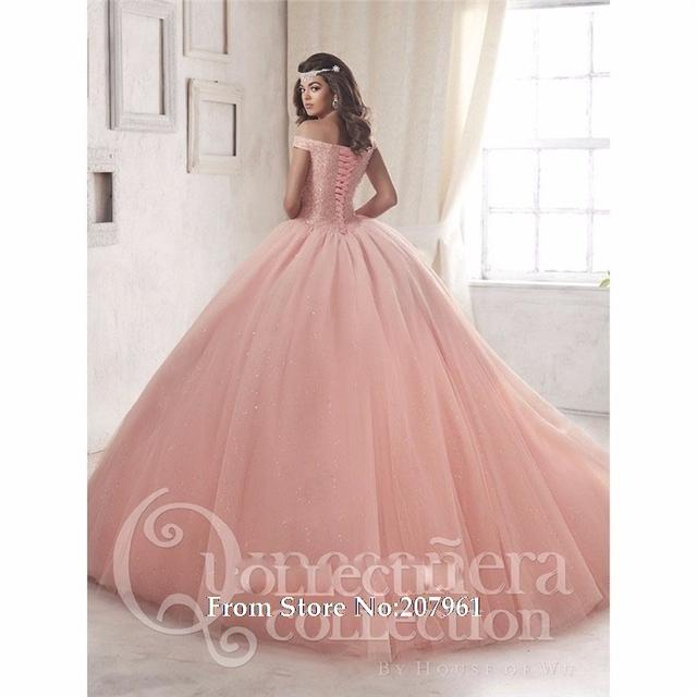 Talão de Coral Debutante Vestidos Off-Deve Quinceanera Dresses 2017 Tulle com Flor vestido de Baile longo Prom Vestido Vestidos De 15 Años