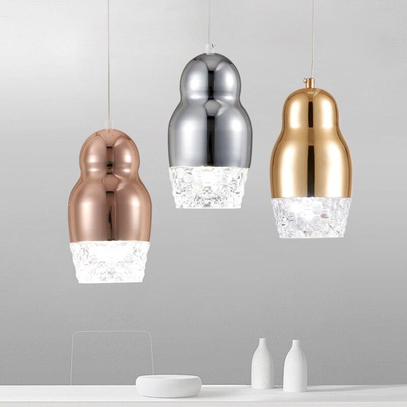 Modern Pendant Light champagne gold rose color Metal ceiling hanging lamp for Kitchen Restaurant Home led glass light fixtures
