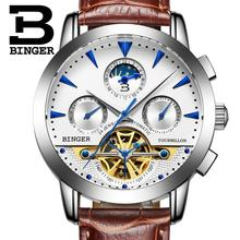 2017 NEW luxury men's watches BINGER brand Mechanical Wristwatches Moon Phase sapphire full stainless steel Tourbillon B1188-3
