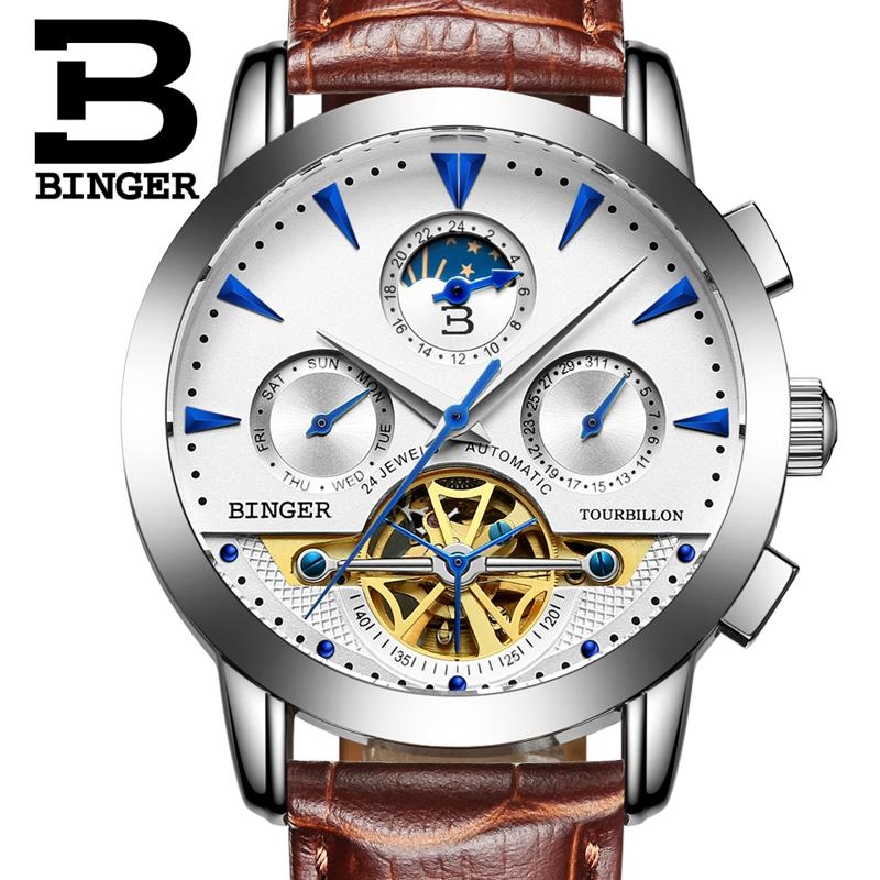 2017 NEW luxury men's watches BINGER brand Mechanical Wristwatches Moon Phase sapphire full stainless steel Tourbillon B1188-3 brand new original japan niec indah pt150s16 150a 1200 1600v three phase rectifier module