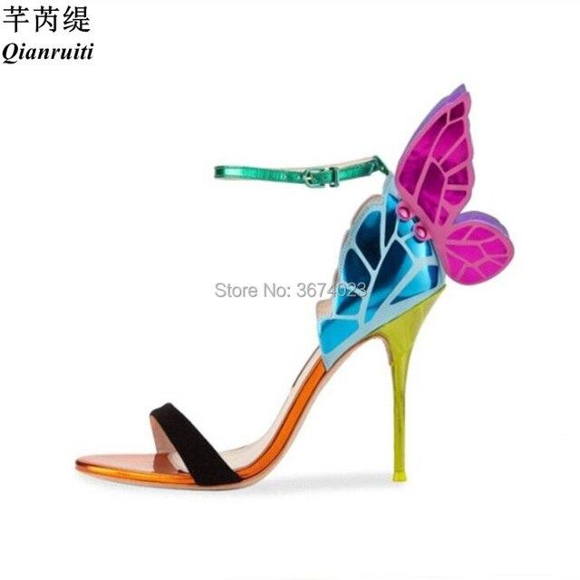 090afc4e3cf7 Qianruiti Angel Wings Sandals Women Multi-color Stilettos Open Toe High  Heels Gladiator Butterfly Heels Women 8 cm 9 cm 10 cm