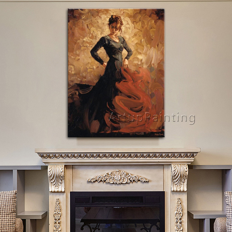 Spanish Flamenco Dancer oil painting latina woman canvas painting wall art pictures for living room hight Quality Hand painted 1