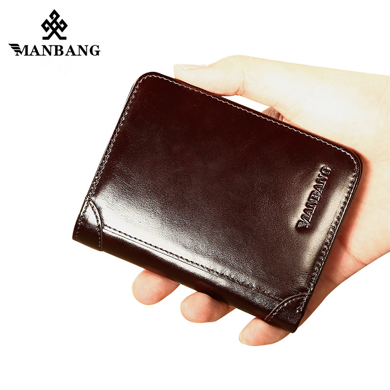 ManBang Hot Sell Genuine Leather Men Wallets Classic Style Wallet Short Male Purse Card Holder Wallet Men Fashion mini wallet hot fashion men wallets geometric plaid pattern design short style pu leather black brown card holder purse wallet free shipping