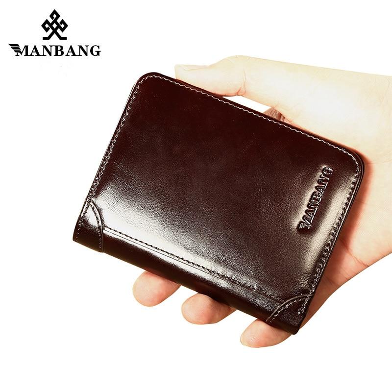 ManBang Hot Sell Genuine Leather Men Wallets Classic Style Wallet  Short Male Purse Card Holder Wallet Men Fashion Mini Wallet