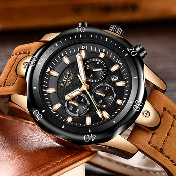 LIGE Men´s Luxury Casual Leather Military Waterproof Chronograph Sports Wrist Quartz Watches 3