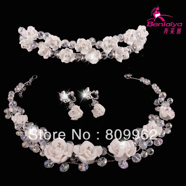 2015  Fashion Wedding Jewelry Sets Bridal Necklace Earring Tiara Wedding Dress Accessories Polymer Clay Jewelry