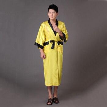 цена на New Chinese Men's Reversible Satin Robe Bath Gown Embroidery Dragon Kimono Yukata Two Side Sleepwear S M L XL XXL XXXL MR014