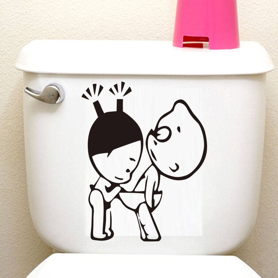 DCTOP Cartoon Adult Couple Funny Toilet Stickers Home Decal Walll Sticker For Bathroom Toilet Hotel Office Wall Decoration