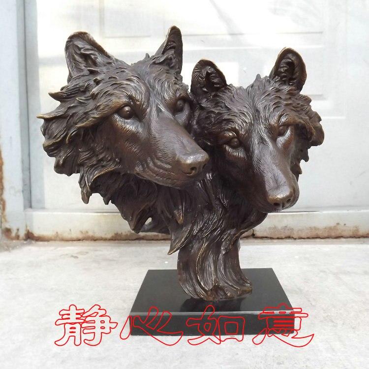 En gros usine art cuivre western maison Double tête de loup loup totem lion chien tête Statue sculpture Bronze décoration