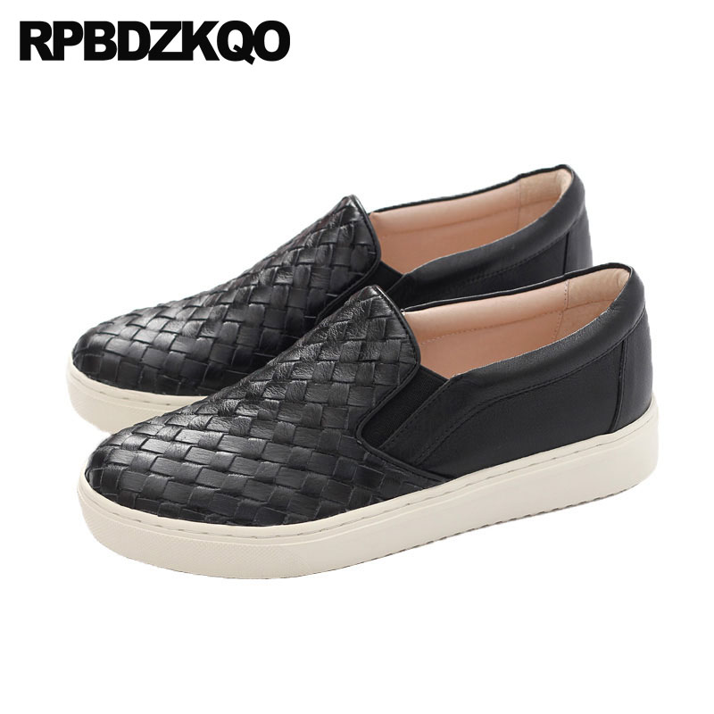 Slip On Genuine Leather Navy Blue Women Creepers Platform Shoes Black Flats Sneakers Woven Muffin Luxury Trainers Thick Sole