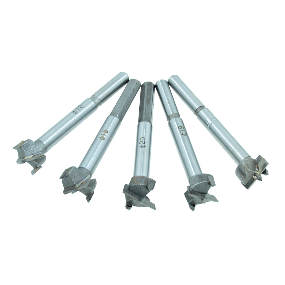 5PCS/One Set (16mm-17mm-18mm-19mm-20mm) Cutting Diameter Hinge Boring Drill Bit Woodworking Hole Saw Wood Cutter Silver Tone 38mm 100mm diameter hinge boring bit woodworking silver tone round shank wood drilling forstner carbide tip cutting wood tool