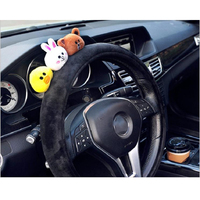 Cute cartoon car steering wheel cover winter plush bow panda rabbit women girls wheel covers car styling decorations