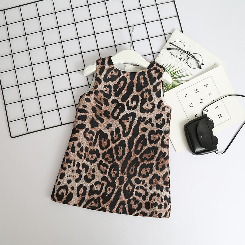 252f8bc28c6e Baby Girl Leopard Print Dress Toddler Kids Designer Party Dress Sleeveless  Children Fashion Boutique Clothes Girl Holiday Dress