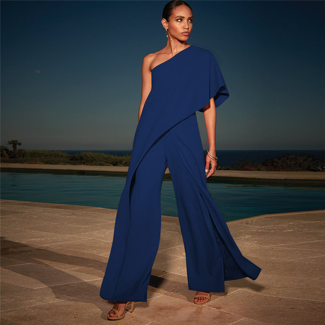 4e580952070 One off shoulder women jumpsuit 2018 Fashion wide leg pants summer jumpsuits  and romper Elegant party