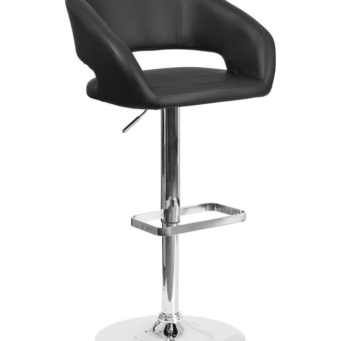 Flash Furniture Contemporary Black Vinyl Upholstery Adjustable Height Barstool with Chrome Base